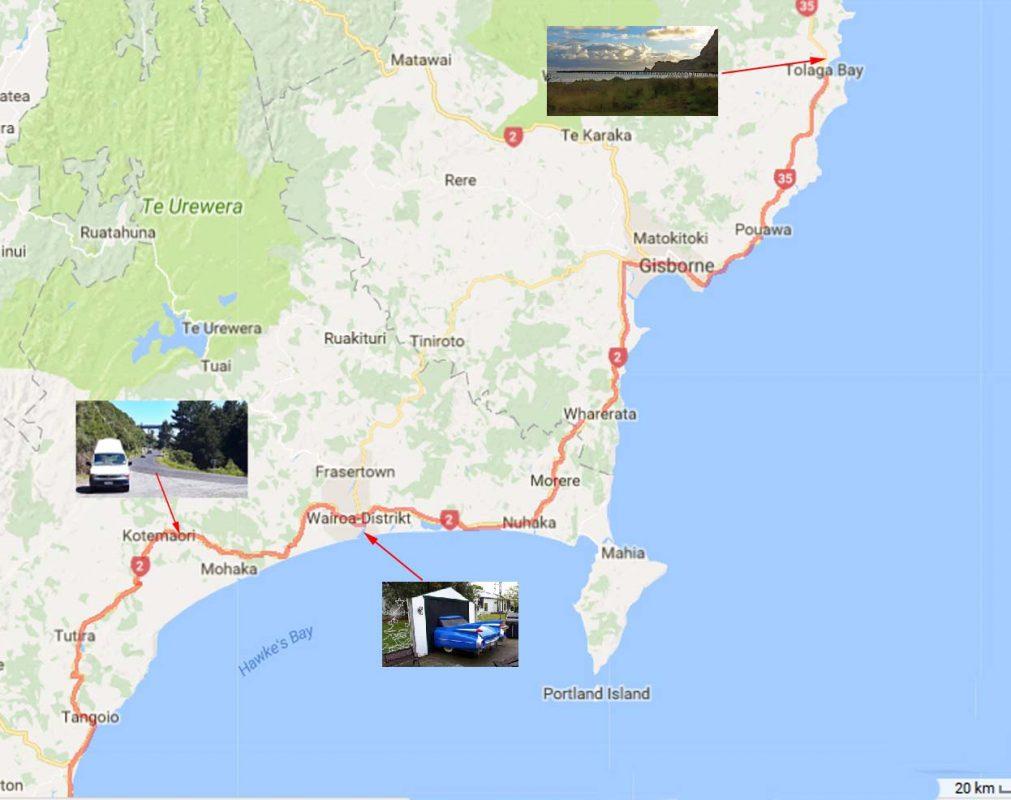 Karte Napier - Tolaga Bay