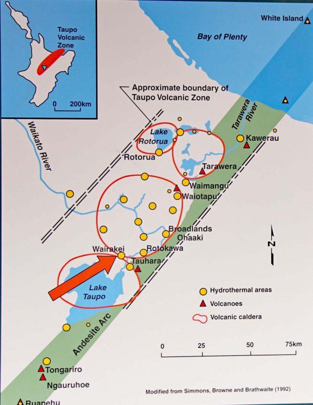 Übersichtskarte Geothermalgebiete von der White Island bis zum Vulkan Ruapehu