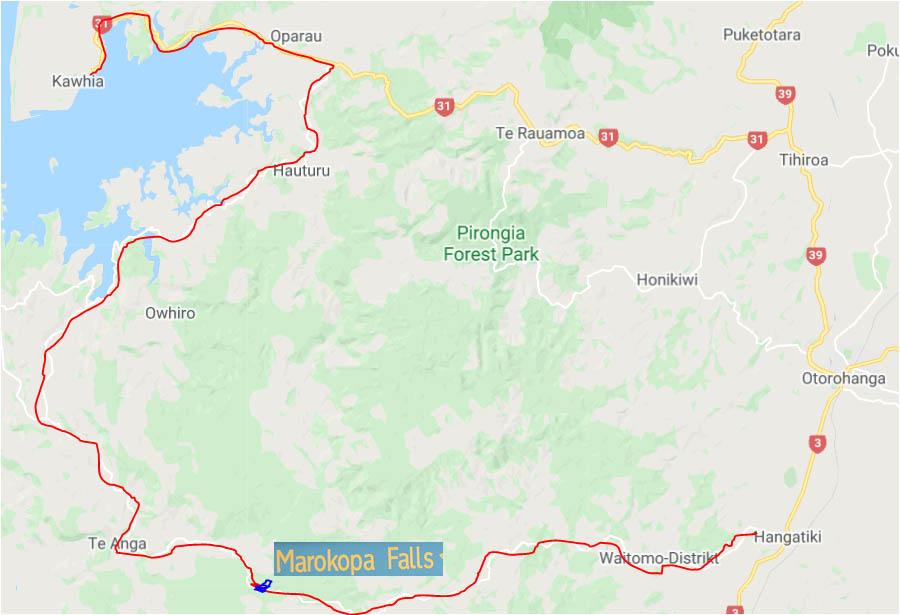 Karte Waitomo Kawhia