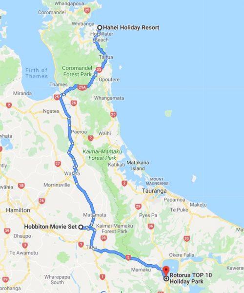 Karte Hahai - Hobbiton - Roturoa