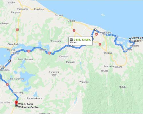 Landkarte Ohwia Beach Taupo
